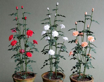 Shrub Rose Paper Flower Kit  for 1/12th scale Dollhouses, Florists and Miniature Gardens