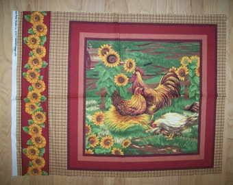 A Wonderful Chickens and Roosters In The Yard With Sunflowers Cotton Fabric Panel Free US Shipping