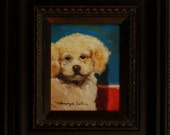 Polly. 8in x 10in canvas framed (22in x 27in) oil painting. Heavy ornate wooden frame.
