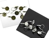 20-30pcs 12mm Bezel Earring Blanks - WHOLESALE Leverback Earring Findings - Bulk Cabochon Setting - Leverback Earring Tray - Blanks Tray Pad