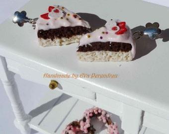 strawberry cake earrings - silver