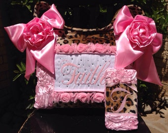Bundle 3D Rosette Light Pink Diaper Bag Leopard Fur Satin Flowers and Bows Wipe Case