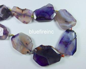 8pcs purple color agate slab beads full strand