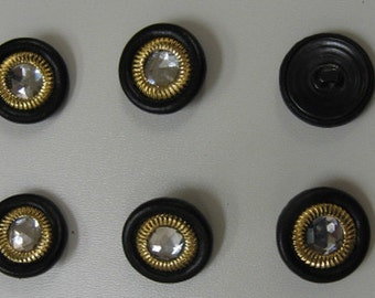 "Black Leather Covered Buttons with Jewel Center (36 line) 7/8"" 6 pcs"
