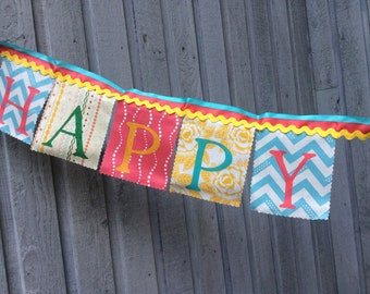 Birthday Banner, bunting flags, Happy Birthday Banner, Party  Decoration vintage style multi colored decoration for girls Birthday