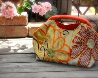 Obi / Kimono / Bag / BG x OR611 Pretty Flower Pattern Antique Obi Spring Handle Bag