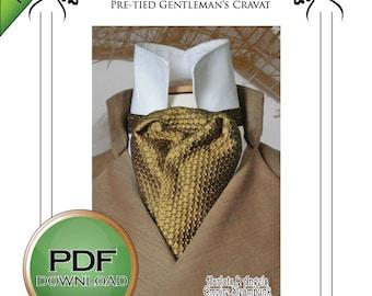 Late Victorian Steampunk Cravat pdf full scale sewing pattern -Sherlock Holmes style