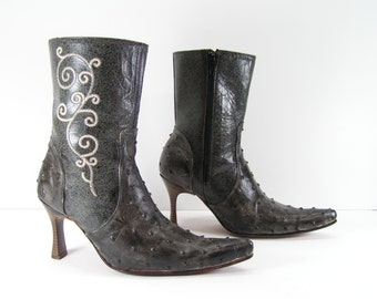 short cowboy boots womens 6 m charcoal gray high heel stilettos ostrich leather