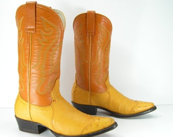 ostrich cowboy boots womens 6.5 B M camel light brown leather ostrich western cowgirl