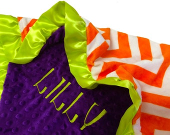 Halloween Blanket Orange and White Chevron With Purple Minky Back and Lime Green Satin Ruffle