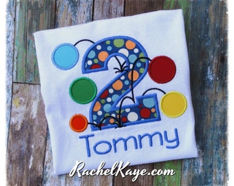 Second birthday shirt with name personalized 2 two appliqué customized made to order