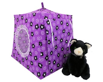 Toy Pop Up Tent, Sleeping Bags, dark orchid, floral print fabric for stuffed animals, dolls
