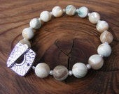 Mother of Pearl Bracelet with Fresh Water White Button Pearls