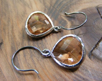 Apricot Glass Earrings with Handmade Polished Oxidized Silver Ear Wires.