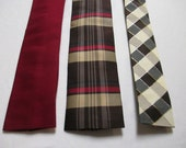 NECKTIE MENS Vintage Neck Tie  -  Instant Collection of 3 ties - Square End Ties - Dark Red, Plaid, Diagonal