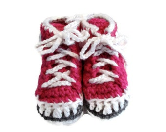 Medium Raspberry Hot Bright Pink Crochet Infant Baby High Top Athletic Sneakers Shoes Booties Size 3-6 Months Baby Girl Shower Present Gift