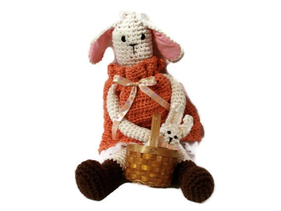 Becky the White Crocheted Stuffed Toy Doll Bunny Rabbit in Orange Dress with Her Baby Bunny in Basket Handmade Toy for Kids Children