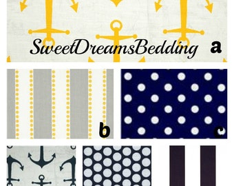 Custom Crib Bedding You Design   Bumper and Bedskirt in Sail in yellow and navy