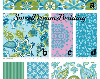 Custom Crib Bedding You Design   Bumper and Bedskirt in  Spendor in Blue