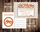 Printable POSTCARD Vintage MOTORCYCLE baby shower invitation -- A Custom postcard Digital or Printed for you