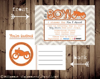 Printable POSTCARD Vintage MOTORCYCLE baby shower invitation -- A Custom postcard Digital or Printed for you