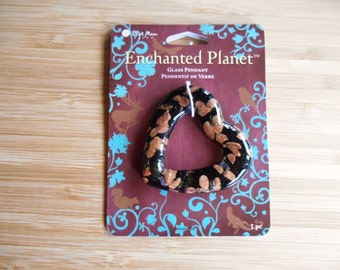 Glass Pendant Black Heart With Copper Glitter Blue Moon Enchanted Planet New on Card