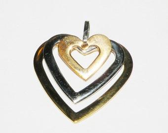 Vintage Milor Italy Triple Heart Pendant or Charm