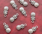 SALE, PINEAPPLE Charms x 10, antique silver tone, charm, UK seller, reduced, was 1.30, now only 1 pound while stocks last
