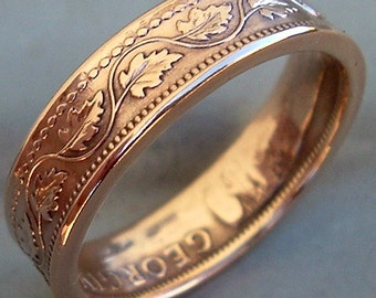 Canadian Large Cent Copper Coin Ring (Available in sizes 5.5 through 10)