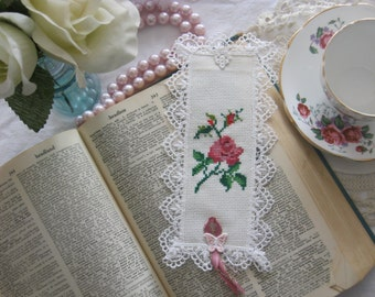 Victorian Lace and Rose Book Mark -Free Shipping