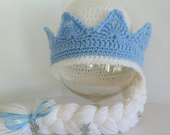 Frozens Elsa Inspired Hat with Braid, Elsas Crown With ...