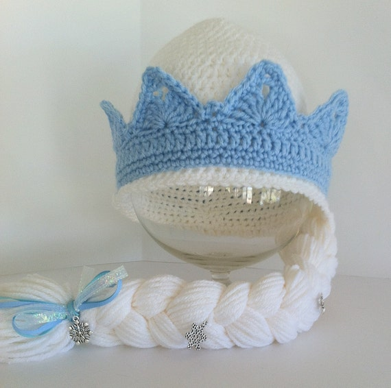 Crochet Elsa Hair Hat : Frozens Elsa Inspired Hat with Braid, Elsas Crown With Braid ...