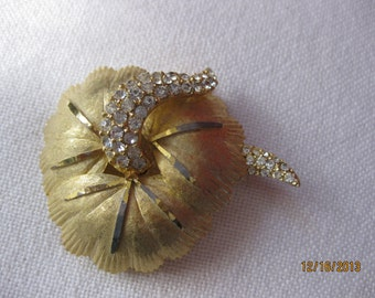 BSK Brooch from 1970's Leaf Design with Pave Rhinestones Detail  Excellent Condition