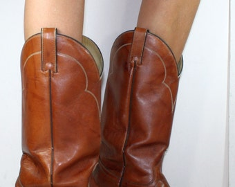 Vintage brown acme cowboy cowgirl womens Leather fashion western boots 10 womans 8.5 D mens