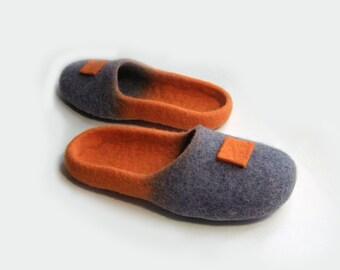 Women house shoes / slippers, felted wool slippers, boots, Felted shoes, slippers Japan / color / orange / grey / pumpkin