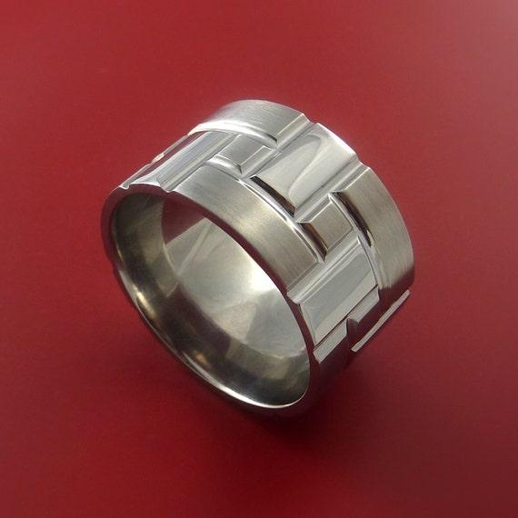 Titanium Brick Design Ring Extra Wide Unique Band Custom Made for You