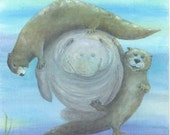 Print open edition 8 by 10 Florida manatee bowman sea cow portrait Entertaining The Otters