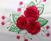 Satin Rose with Leaves Pillow Machine Embroidery Design