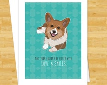 Dog Christmas Cards - Corgi May Your Holiday Be Filled With Love and Smiles - Happy Holiday Merry Christmas Cards