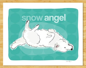Great Pyrenees Art Print - Snow Angel - Great Pyrenees Gifts Dog Art