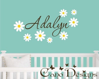 Personalized Name With Daisies, Custom Vinyl wall decals stickers, nursery, kids & teens room, removable decals stickers