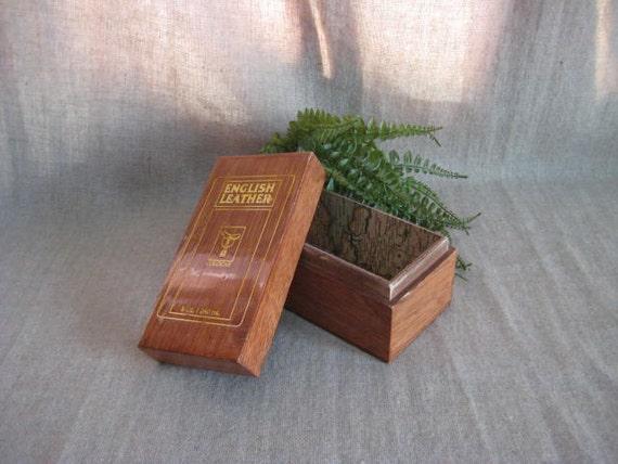 Vintage English Leather Cologne Wood Box / Repurposed Vintage Box