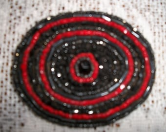 Antique Vintage Handmade  Beaded  Applique