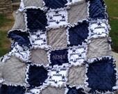 Rag  quilt blanket for baby girl or boy in Dallas Cowboy Football Navy