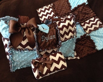 Custom brown and cream chevron rag quilted diaper bag handbag for baby boy in blue
