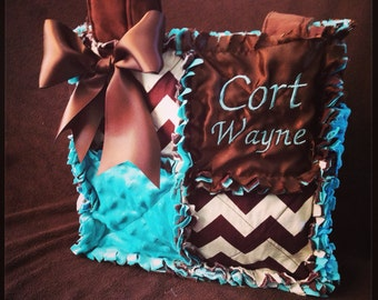 Custom rag quilted diaper bag tote in brown aqua blue chevron