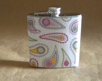 Girly Gift Pink Purple Yellow and Green Paisley Print 6 ounce Stainless Steel Gift Flask KR2D 7703