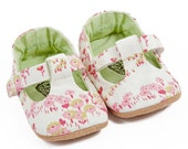 Girls T-Bar Shoes M0097 - Cream and Candy Floral