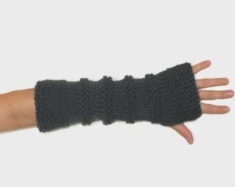 Dark Grey Long Knit Fingerless Gloves