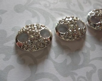 Jewelry Connectors - Rhinestone Encrusted Silver Oval LInks - 13 x 16mm - 3 pieces